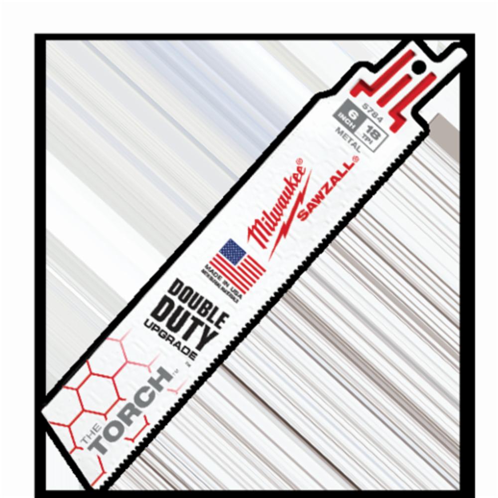 """MILWAUKEE 48-00-5784 6/""""L x 18 TPI Metal Cutting Bi-Metal Torch Reciprocating"""